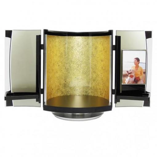 デザインミニ仏壇|自宅墓|soreaソレア・金模様(写真を飾れるフォトフレーム付き仏壇)